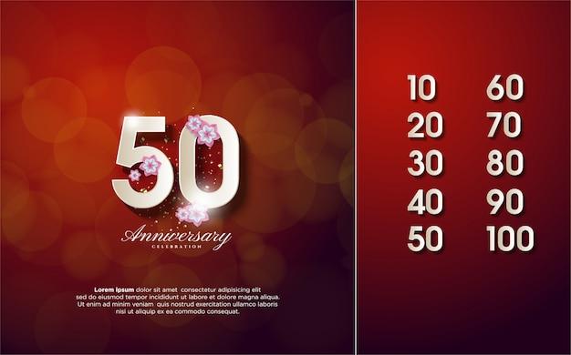 Numero anniversario 10-100 con illustrazioni di numeri bianchi e fiori