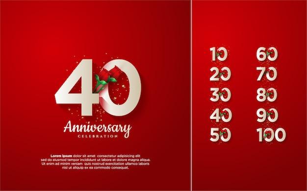 Numero anniversario 10 100 con illustrazioni di numeri bianchi con rose rosse.