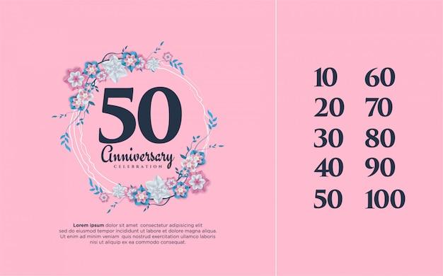 Numeri anniversario 10 100 con illustrazioni di fiori che circondano i numeri.