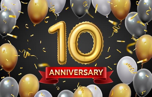 Manifesto dell'anniversario con palloncini dorati. 10 giorno del matrimonio o celebrazione del giubileo divertente con numeri di palloncini dorati e banner vettoriali di coriandoli. buon evento o invito o saluto per le vacanze