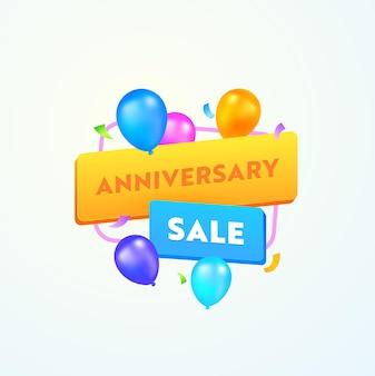 Banner pubblicitario di vendita di anniversario con tipografia e palloncini colorati