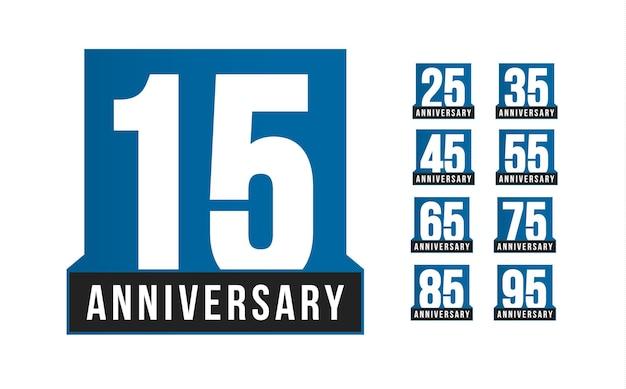 Set di icone vettoriali anniversario. modello di logo di compleanno. elemento di design biglietto di auguri. emblema di decennio di affari semplice. numero di stile rigoroso blu. illustrazione vettoriale isolato su sfondo bianco