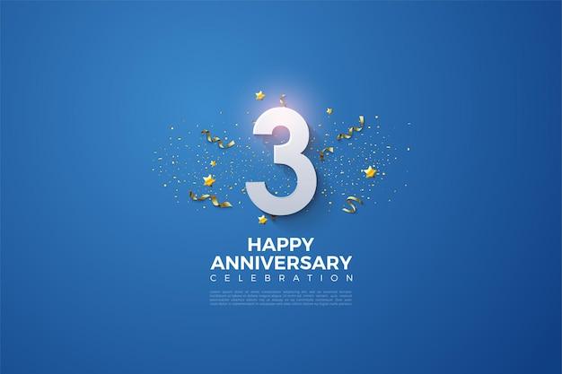 Anniversario con numeri e festività su sfondo blu.