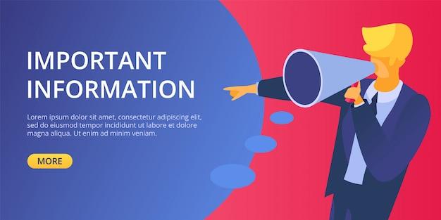 Annuncia l'illustrazione del megafono di informazioni importanti. uomo tenere in mano il simbolo di avviso vocale e avviso. concetto di pubblicità di marketing aziendale. atterraggio del messaggio di annuncio.