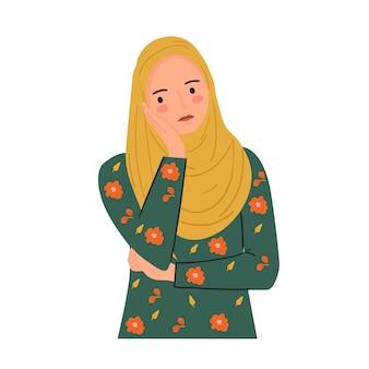 Giovane donna infastidita, annoiata, espressione del viso. triste giovane donna indossa l'hijab in stile disegnato a mano alla moda.