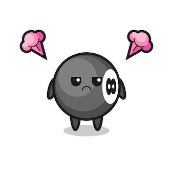 Espressione infastidita del simpatico personaggio dei cartoni animati di biliardo a 8 palle, design in stile carino per t-shirt, adesivo, elemento logo