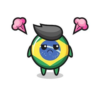 Espressione infastidita del simpatico personaggio dei cartoni animati con distintivo bandiera brasile, design in stile carino per t-shirt, adesivo, elemento logo