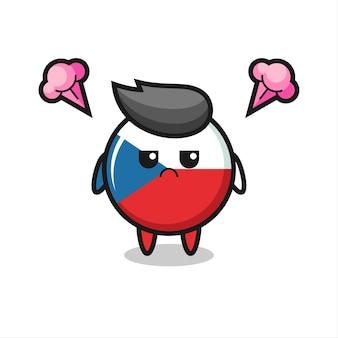 Espressione infastidita del simpatico personaggio dei cartoni animati del distintivo della bandiera della repubblica ceca, design in stile carino per maglietta, adesivo, elemento logo
