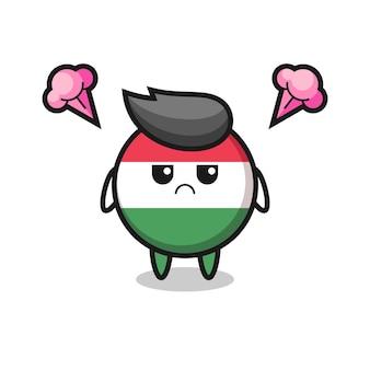 Espressione infastidita del simpatico personaggio dei cartoni animati del distintivo della bandiera dell'ungheria, design in stile carino per maglietta, adesivo, elemento logo