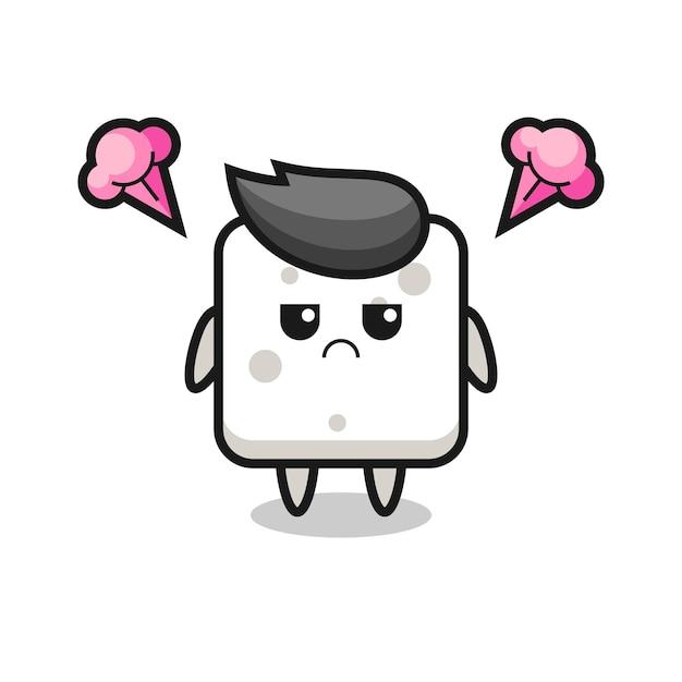 Espressione infastidita del simpatico personaggio dei cartoni animati della zolletta di zucchero, design in stile carino per maglietta, adesivo, elemento logo