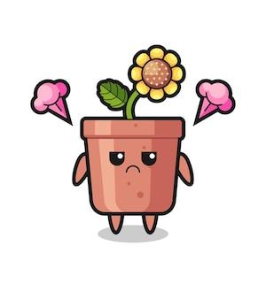 Espressione infastidita del simpatico personaggio dei cartoni animati con vaso di girasole, design in stile carino per maglietta, adesivo, elemento logo
