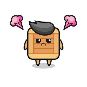 Espressione infastidita del simpatico personaggio dei cartoni animati con scatola di legno, design in stile carino per maglietta, adesivo, elemento logo
