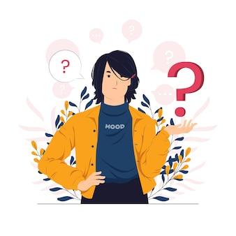 Donna d'affari infastidita e irritata con l'illustrazione del concetto di punto interrogativo