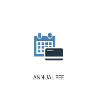 Tassa annuale concetto 2 icona colorata. illustrazione semplice dell'elemento blu. disegno di simbolo di concetto di tassa annuale. può essere utilizzato per ui/ux mobile e web