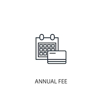 Icona della linea di concetto di tariffa annuale. illustrazione semplice dell'elemento. disegno di simbolo di struttura di concetto di tassa annuale. può essere utilizzato per ui/ux mobile e web