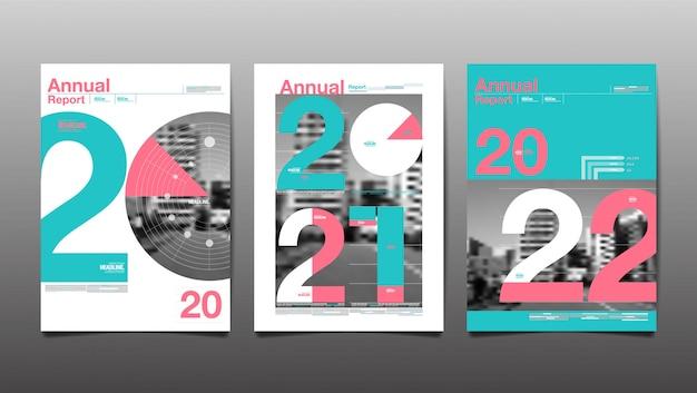 Relazione annuale 2020,2021,2022,2023, futuro, affari, progettazione del layout del modello, copertina. illustrazione, presentazione astratta sfondo piatto.