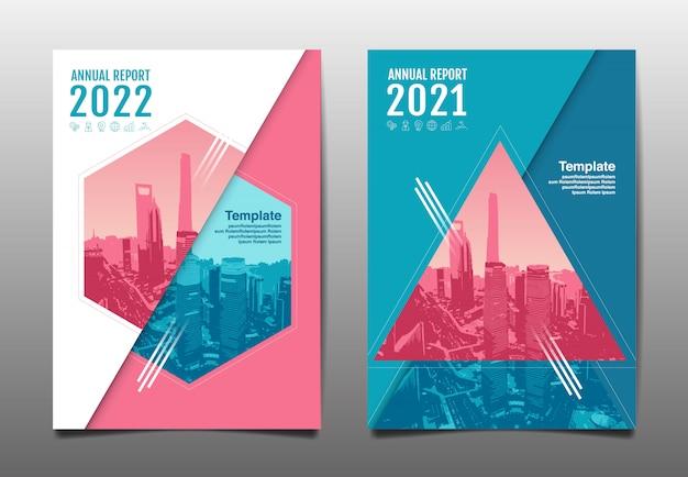 Relazione annuale 2020,2021,2022 futuro, affari, progettazione del layout del modello, copertina. illustrazione.