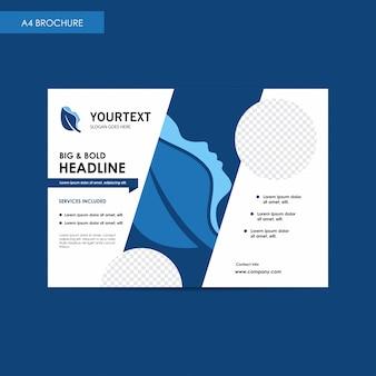 Rapporto annuale bi-fold brochure flyer modello, blu cover design, spa, pubblicità, annunci di riviste, catalogo