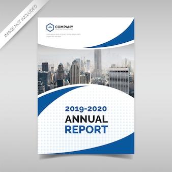 Modello di copertina del rapporto annuale con forme ondulate blu