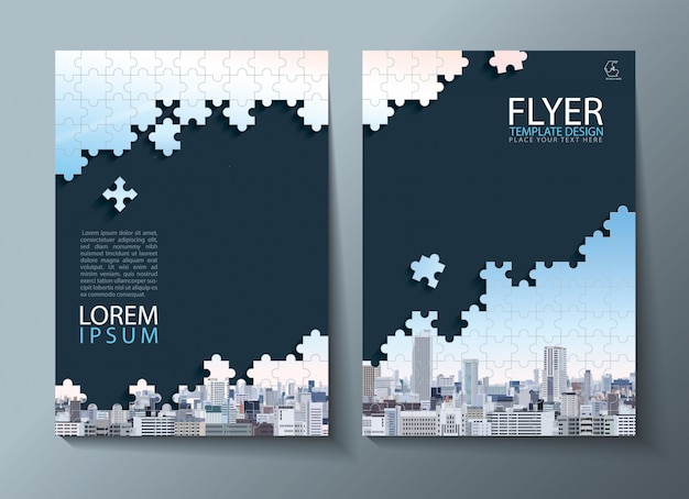 Relazione annuale, flyer, modelli di copertina. immagine di puzzle.