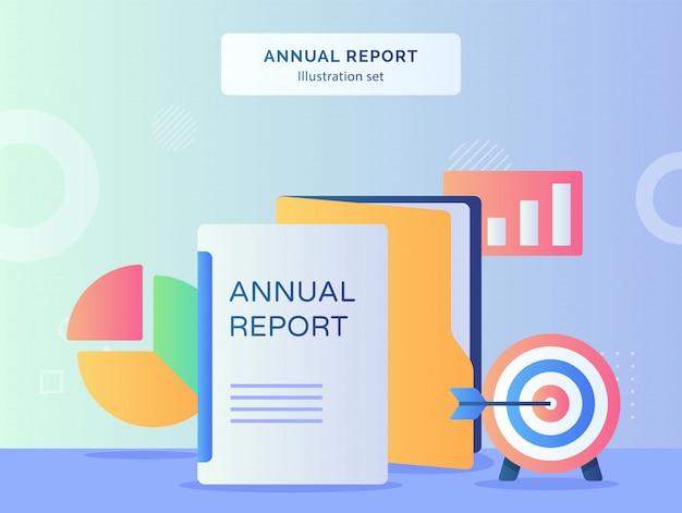 Insieme dell'illustrazione del rapporto annuale della cartella di file del grafico a torta dell'obiettivo di destinazione con uno stile piano.