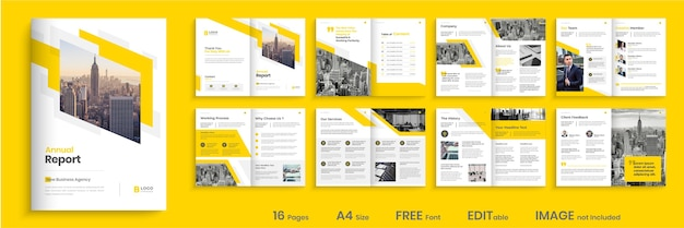 Design del modello di relazione annuale, design del modello di brochure minimal creativo
