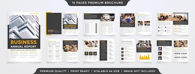 Modello di relazione annuale con uno stile minimalista e pulito per il profilo aziendale e la proposta