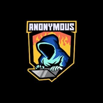 Anonimo giocatore hacker attacco spia ladro oscuro