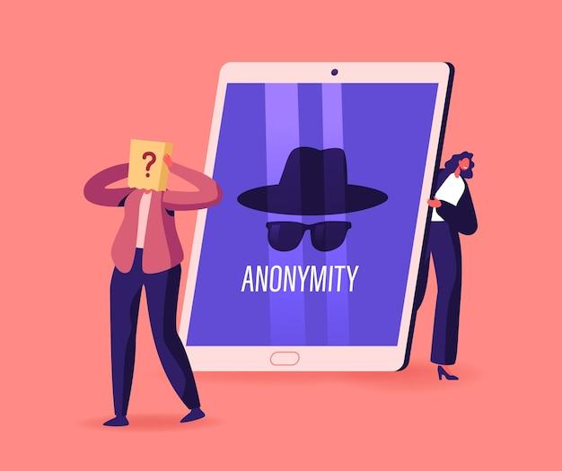 Anonimato, minuscolo personaggio femminile nascosto dietro un enorme tablet pc dispositivo digitale con profilo anonimo irriconoscibile