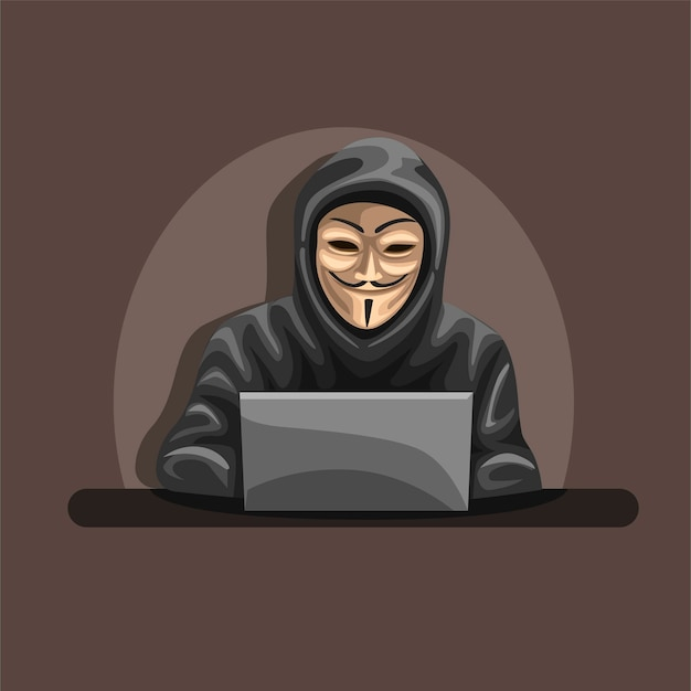 Hacker anonimo indossa maschera e felpa con cappuccio nel concetto di personaggio del computer portatile anteriore nel fumetto