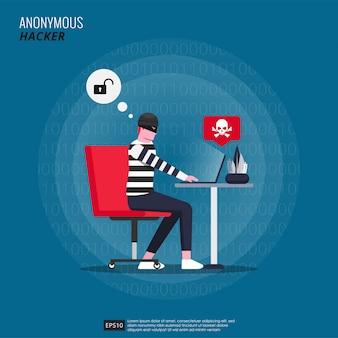 Hacker anonimo con carattere maschera che fa criminalità informatica con il suo laptop.