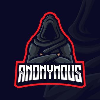 Modello di logo di gioco mascotte anonimo per streamer di esports facebook youtube