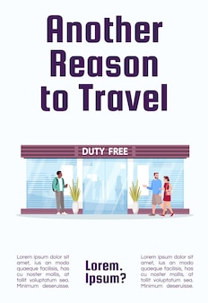 Un altro motivo per viaggiare modello di poster. negozio duty free nel terminal dell'aeroporto. design volantino commerciale con illustrazione semi piatta. carta promozionale del fumetto di vettore. invito pubblicitario per servizi aerei