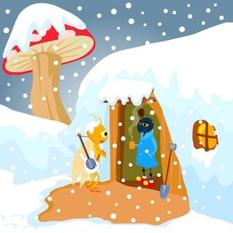 Illustrazione di vettore di favola formica e cidada. arte vettoriale per libri per bambini, copertine, riviste, pagine web e blog.