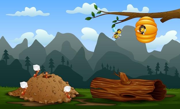 Colonia di formiche e un alveare nel paesaggio naturale