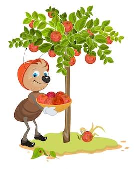 Ant gardener raccoglie le mele. illustrazione della frutta di melo e mela