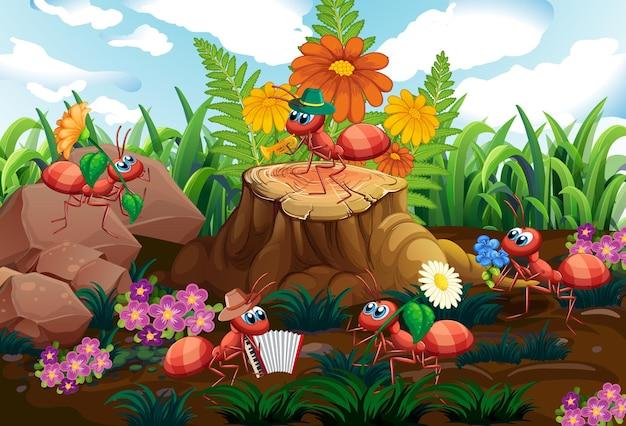 Banda musicale di formiche che suona nella foresta