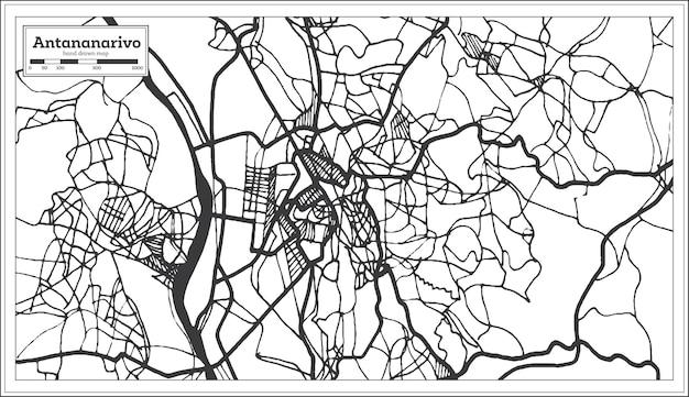 Mappa della città di antananarivo madagascar in stile retrò. mappa di contorno. illustrazione di vettore.