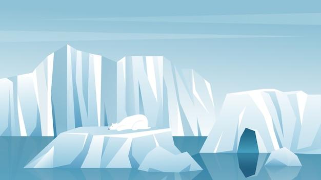 Iceberg artico invernale paesaggio antartico, montagne di neve colline, pittoresca natura ghiacciata settentrionale
