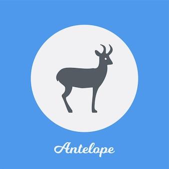 Disegno dell'icona piatto di antilope, elemento simbolo del logo