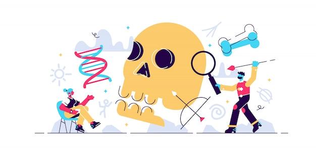 Illustrazione di antropologia concetto antico mini persone con teschio, ossa e mammut. dna e ricerca paleolitica per testimonianze di neanderthal o preistoriche. esplorazione della cultura educativa.