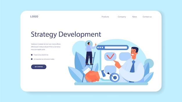 Banner web di strategia anticrisi o pianificazione aziendale della pagina di destinazione