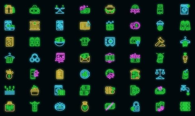 Set di icone di lavanderia anti-denaro. set di icone vettoriali per lavanderia anti-denaro con colori al neon su nero