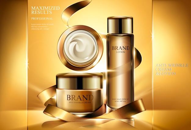 Annunci di prodotti antirughe, vasetto di crema cosmetica e lozione con nastri dorati e sfondo luminoso nell'illustrazione
