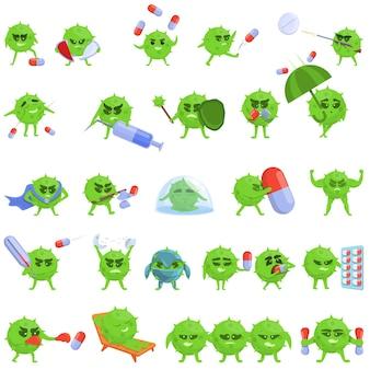 Set di icone di resistenza agli antibiotici. cartoon set di icone di resistenza agli antibiotici