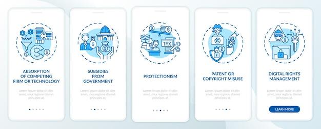 Schermata della pagina dell'app per dispositivi mobili di onboarding delle norme anticoncorrenziali