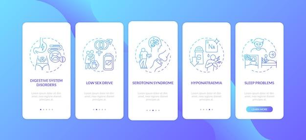 Effetti collaterali degli antidepressivi nella schermata della pagina dell'app mobile con concetti
