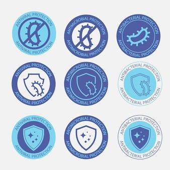 Distintivi resistenti agli antimicrobici icona di protezione antivirale e antimicrobica antibatterica
