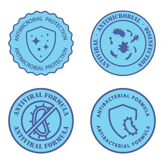 Distintivi resistenti agli antimicrobici formula antivirale e antimicrobica etichetta igienica pulita