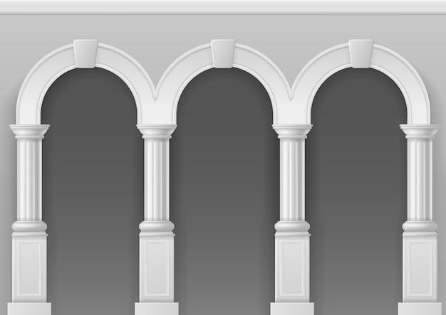 Antico porticato. arco architettonico con pilastri in pietra bianca, interno classico palazzo romano o greco con colonne eleganti, illustrazione vettoriale isolata facciata del castello